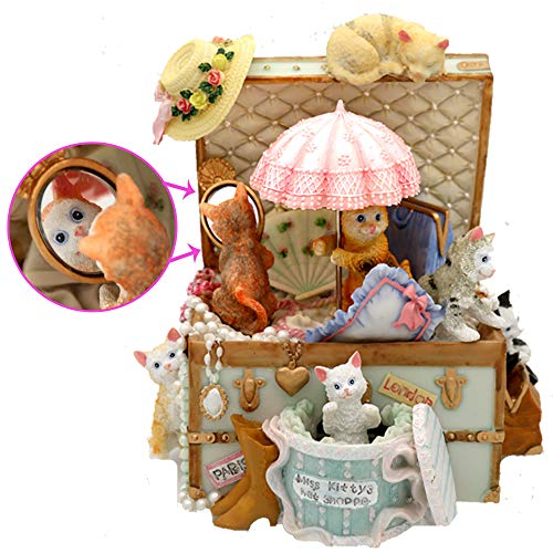 (loveforyou Cats Music Box Cute Resin Kitty Musical Box Best Birthday Gift for Children,Girls,Girlfriend on Christmas/Birthday/Valentine's Day (Castle in The Sky, Pink))