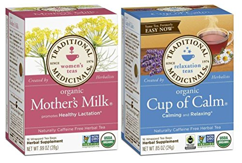 Traditional Medicinals Organic Non-GMO Herbal Tea 2 Flavor Variety Bundle: (1) Mother's Milk, and (1) Cup Of Calm, 16 Bags Ea.