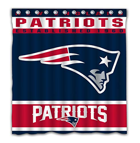 Potteroy New England Patriots Team Design Shower Curtain Waterproof Polyester Fabric 66x72 Inches