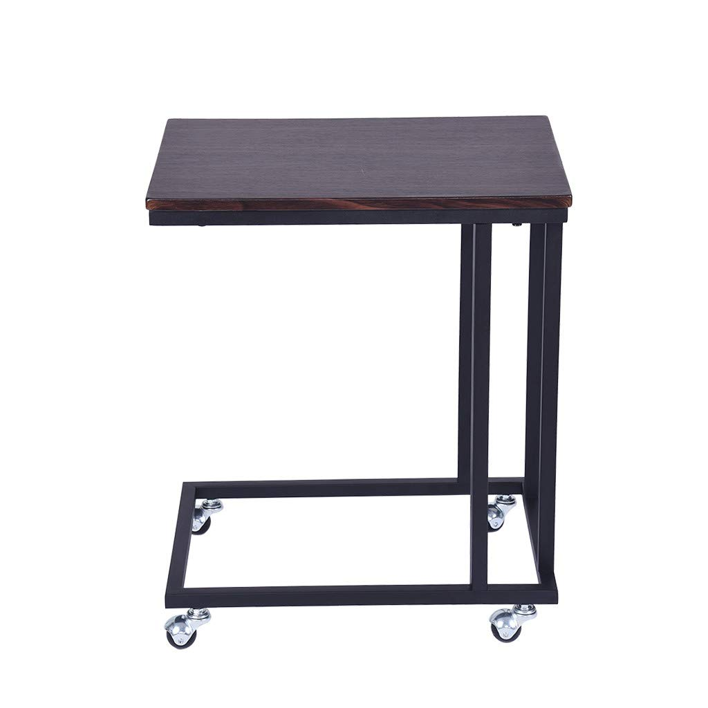 Suesshop Tables, Mobile Snack Table Sofa Side Table Nightstand for Coffee or Laptop with Metal Frame and Casters Modern Piece Computer Desk