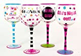 Hand Painted Girls Gotta LIve! Wine Glasses, Set of 4, Holds 18 Oz