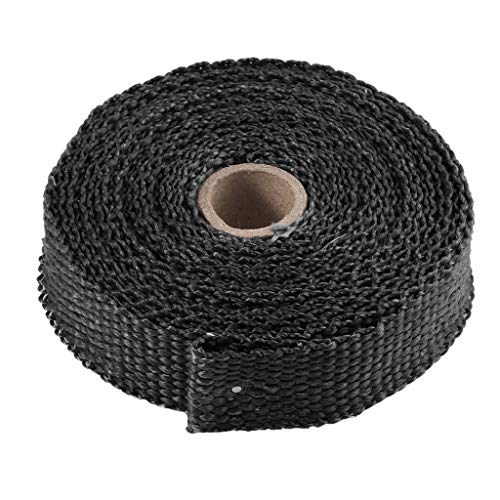 Two Stroke Internal Combustion Engine - SUJING 2.5CM 5M Roll Fiberglass Exhaust Header Pipe Heat Wrap Tape + 4 Ties Kit Hot For use on All Internal Combustion Engines/Diesel/Rotary/Two-Stroke/Turbocharged/Cars/Trucks/Motorcycles (Black)