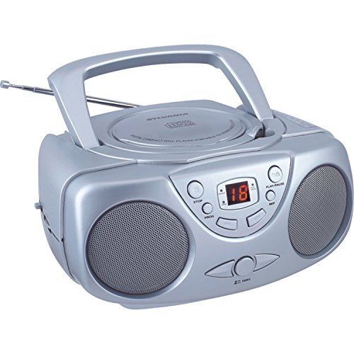 Sylvania SRCD243 Portable CD Player with AM/FM Radio, Boombox (Silver)