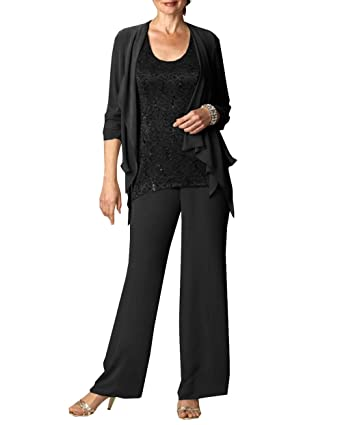 14f7fe69232a3 Fitty Lell Women s Chiffon Mother of The Bride Pant Suits Long Sleeves Wedding  Mothers Guest Dress