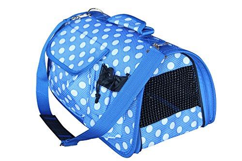 BPS (R) Portador Transportín Bolsa Bolso de Tela (Lunares) para Perro, Gato, Mascotas Animales,Tamaño: S,37x22x20cm (Azul)
