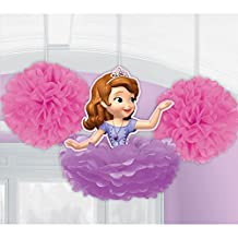 3 Disney Princess Sofia the First Birthday Party Fluffy Dangling Decorations