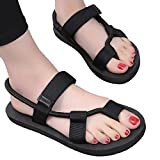 Litfun Summer Black Rope Flat Sandals Beach Adjustable Strap Flip Flop Sadnals Women