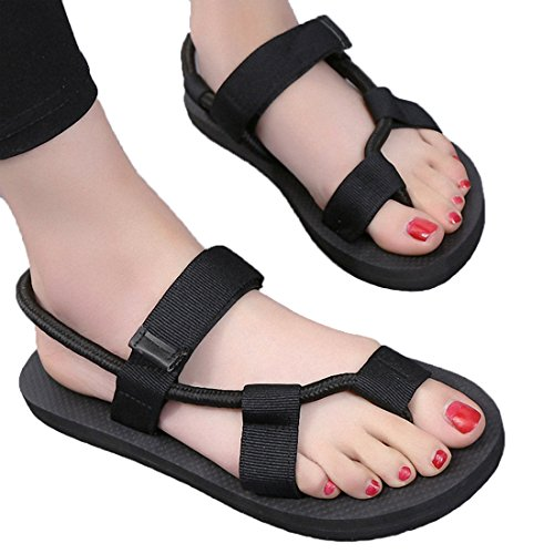Litfun Summer Black Rope Flat Sandals Beach Adjustable Strap Flip Flop Sadnals for Women by Litfun