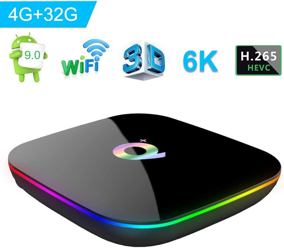 Android 9.0 TV Box, Q Plus Smart Android Box con Allwinner H6 Quad-Core 64 bit Arm Corter-A53 CPU 4 GB RAM 32 GB di RAM Mali T720 GPU supporta 4K 6K Risoluzione 2.4GHz WiFi 100M LAN Enternet