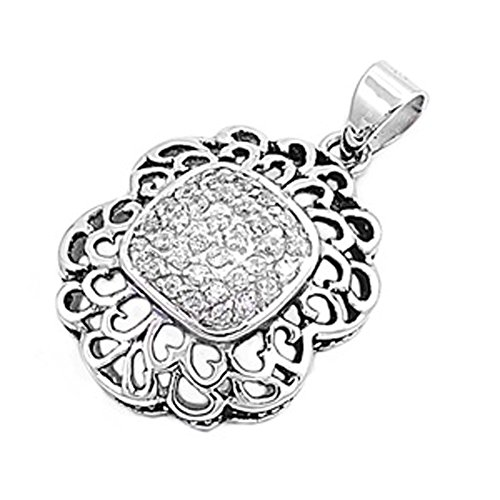 Micro Pave Pendant Clear Simulated CZ .925 Sterling Silver Heart Cutout Charm - Silver Jewelry Accessories Key Chain Bracelet Necklace Pendants -