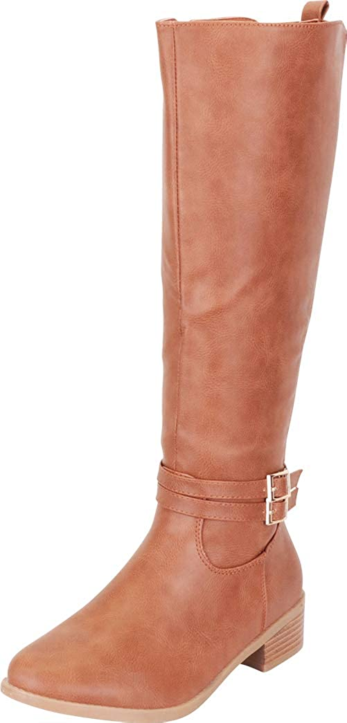 Tan Pu Cambridge Select Women's Strappy Buckle Low Heel Knee-High Riding Boot