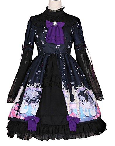 Plaid&Plain Women's Holloween Sweet Lace Bowknot Lolita Dress A Line Pleated Dresses 0543Black Freesize Sleeves Lolita Dress
