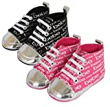 Super cute crib shoes that make a great compliment to your baby's outfits, by Bebe Made of soft, durable material to keep your little one warm and comfy. Fashionable shoe for pre-walkers, keeps baby looking stylish during play or when ...