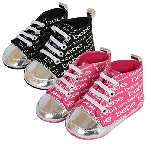 bebe Baby Girl\'s High Top Crib Shoe Sneakers With Metallic Print, (2 Pack) Fuchsia/Black, 3 M US ()