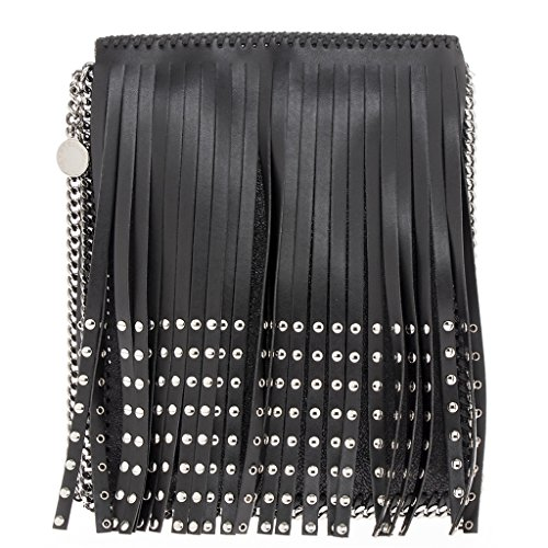 Stella-McCartney-Womens-Studded-Fringe-Chain-Trimmed-Flat-Crossbody-Bag-Black