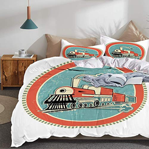 Banner 100% Cotton - Theme Design Duvet Cover Set,Steam Engine 100% Cotton,Vintage Style Orange and Blue Banner Train Transportation Retro Old,Twin Size 3 Piece (1 Duvet Cover + 2 Pillowcase),Turquoise Salmon Ivory ,Super