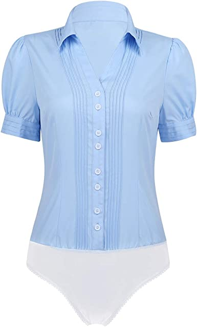 YOOJIA Mujer Camisa Manga Corta de una Pieza Bodysuit Blusa ...