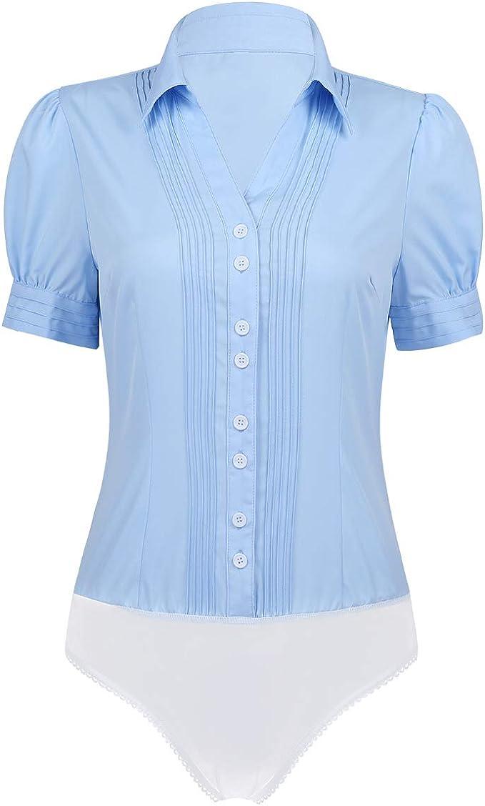 dPois Body Manga Larga Mujer Entrepierna Abierta con Botones Camisa Top Blusa de Negocios Trabajos Bodysuit: Amazon.es: Ropa y accesorios