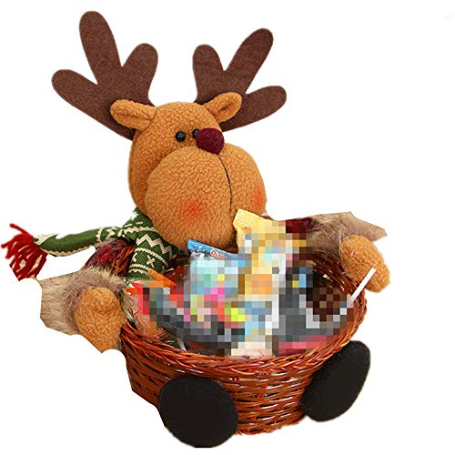 Holiday Candy Gift Basket, Healthy Food Snack Christmas Food Box 3 Piece Set(Brown3 Small) -