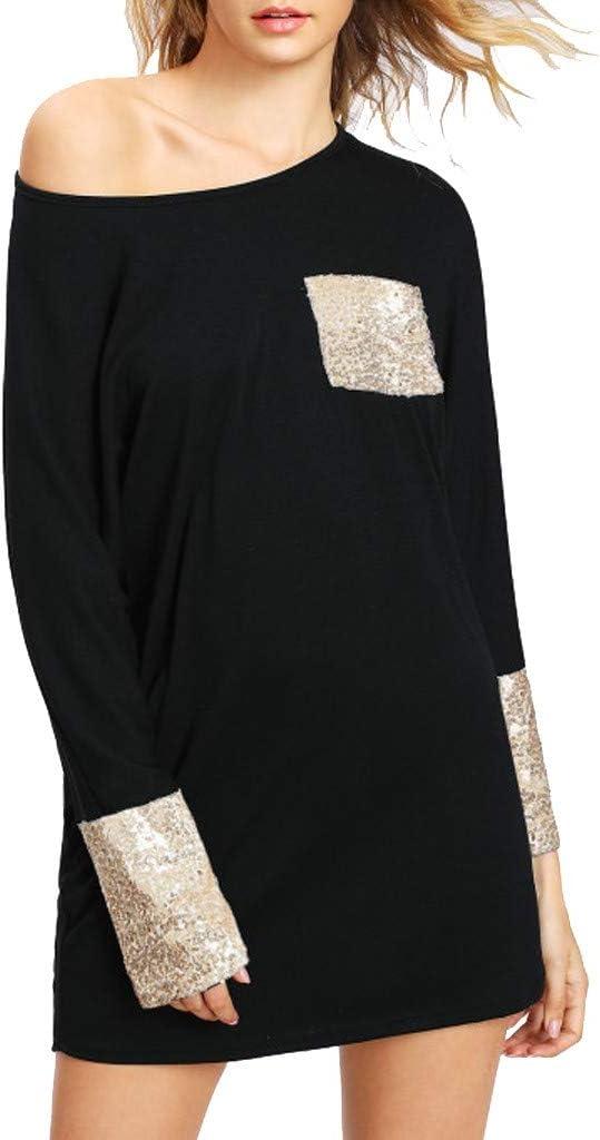 SANFASHION moda 2019 sukienka damska casual cekiny z długim rękawem sukienka mini elegancka okrągły dekolt sukienka na imprezę z torbą: Odzież