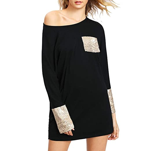 5259fb7c7e iSkylie Fashion Womens Casual Swing T-Shirt Dresses Sequined Pocket Long  Sleeve Loose Round Neck