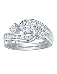 Newshe Sparkle 2ct AAA Cz 925 Sterling Silver Engagement Band Wedding Ring Set Woman Size 5-10