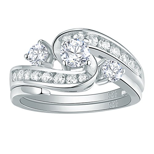 Newshe Sparkle 2ct AAA Cz 925 Sterling Silver Engagement Band Wedding Ring Set For Woman Size 7 by Newshe Jewellery