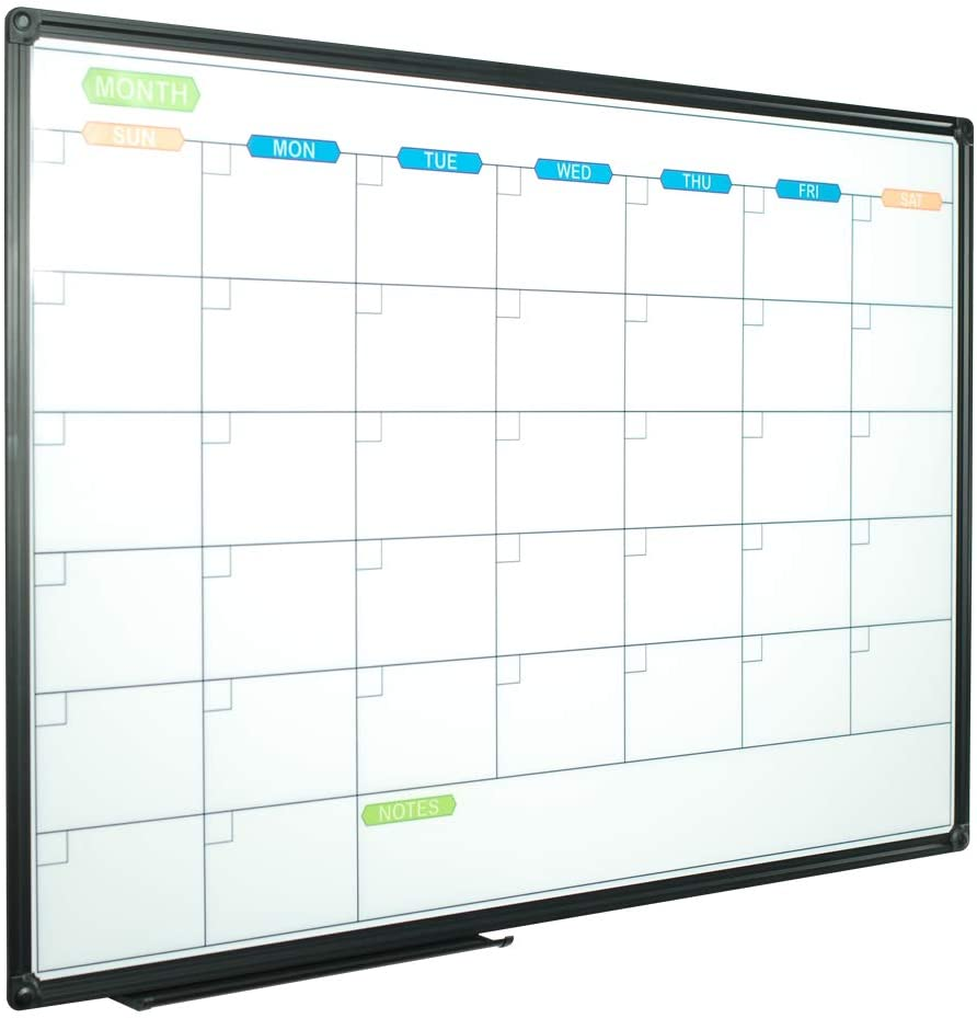 JILoffice Dry Erase Calendar Whiteboard - Magnetic White Board Calendar Monthly 36 X 24 Inch, Black Aluminum Frame Wall Mounted Board for Office Home and School