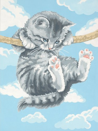- Dimensions Hang on Kitty Paint by Numbers for Adults, 9'' W x 12'' L