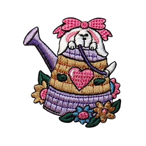 ID 3326 Easter Bunny In Watering Can Patch Spring Embroidered Iron On (3326 Rabbit)