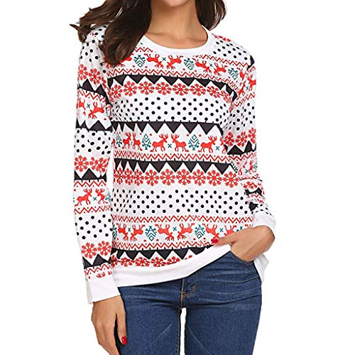 Forthery Womens Christmas Blouse Casual Long Sleeve Reindeer