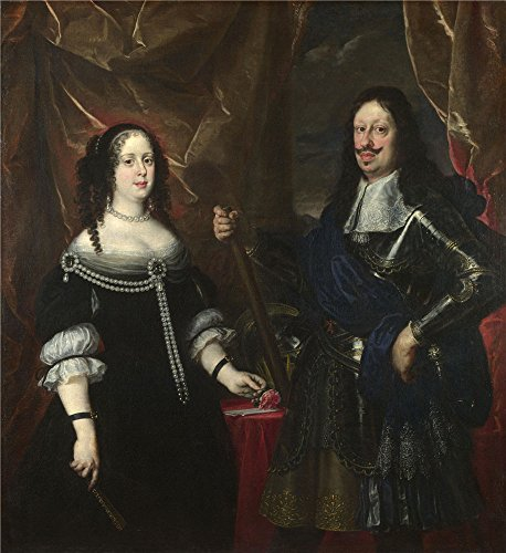 'Justus Sustermans The Grand Duke Ferdinand II Of Tuscany And His Wife ' Oil Painting, 12 X 13 Inch / 30 X 33 Cm ,printed On Polyster Canvas ,this High Quality Art Decorative Prints On Canvas Is Perfectly Suitalbe For Foyer Decor And Home Decoration And Gifts
