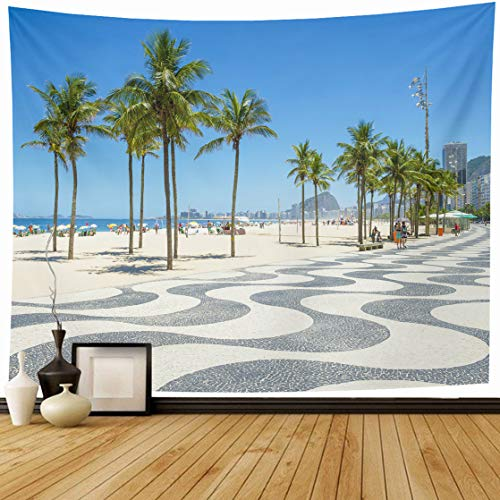 AlliuCoo Tapestry Wall Hanging 60 x 50 Inches Bright Scenic Morning View Iconic Boardwalk Copacabana Beach Rio De Janeiro Brazil Home Wall Decor Tapestries for Bedroom Living Room Dorm