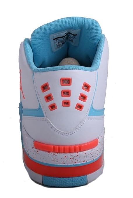 3df918b68006f7 Amazon.com  NIKE Jordan Flight 23 GG Girls Youth White Hot Lava Tide Pool  Blue Basketball Sneakers  Sports   Outdoors