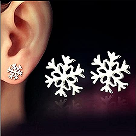 YOUZUO Anti-Allergy Silver Earring Snowflake Ear Studs Earrings Jewelry Gift (1 Pack)