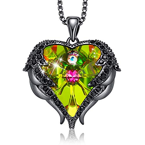CDE Angel Wing Love Heart Necklaces for Women Silver Tone/Gold Tone Pendant Valentines Day Jewelry Gifts for Women Mom/Wife/Sister