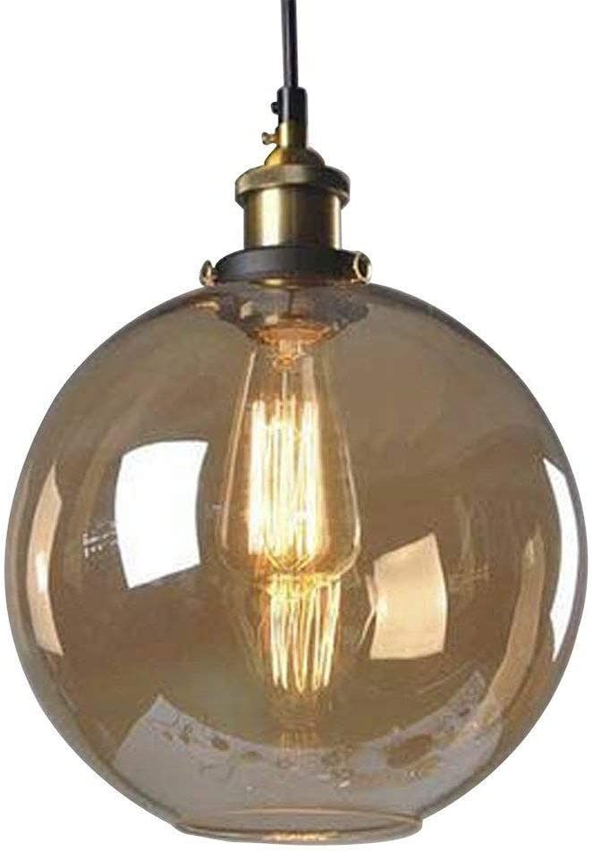 Huahan Haituo Glass Pendant Light Vintage Industrial Metal Finish Clear Glass Ball Round Shade Loft Pendant Lamp Retro Ceiling Light Vintage Lamp(Amber,20CM)
