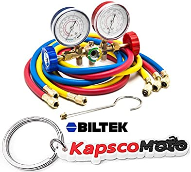 KapscoMoto Keychain Biltek HVAC R12 R22 R502 A//C Diagnostic Manifold Gauge Kit w// 3 Color 60 Charging Hose