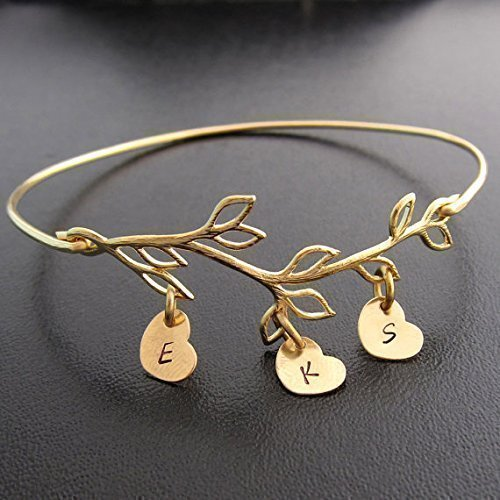 Family Tree Jewelry, Branch with Stamped Initials, Personalized Gift Bracelet for Mom, Grandma, ()