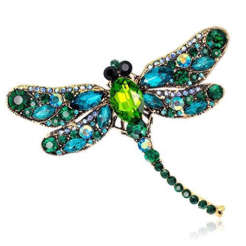 Dragonfly Green (Crystal Rhinestone Dragonfly Brooch Pin Jewelry Birthday Gifts (Green-01))
