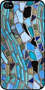 Blue Mosaic Pattern - Case for the Apple Iphone 5-5s Universal- Hard Black Plastic Snap On Case