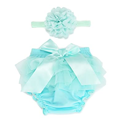 BORITAR Baby Tutus For Infant and Toddlers Girls, Tulle Ruffle With Bow Baby Bloomer Diaper Cover and Headband Set