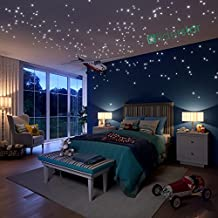 Glow In The Dark Stars Wall Stickers, 504 Dots and Moon for Starry Sky, Perfect For Kids Room ,Beautiful Wall Decals ,for any Bedroom ,Party,Valentines Day Gift by LIDERSTAR ,Delight The One You Love.