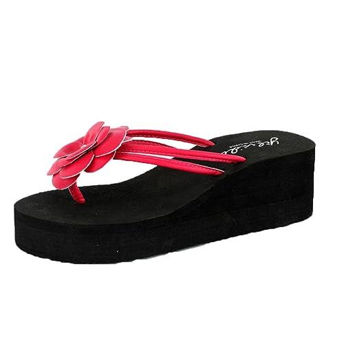 JIANGfu Flip Flops High Heels Sandalen #9733; Sommer Frauen Plattform Bad Hausschuhe Keil Strand Slope Flops Strand...