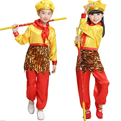 Monkey King Halloween Costume (Aifang Halloween Girls Boys Unisex Monkey King Costume Journey to the West Outfit Cosplay XL)