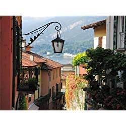 12 X 16 INCH / 30 X 40 CMS BELLAGIO LAKE COMO ITALY STREET SCENE PHOTO FINE ART PRINT POSTER HOME DECOR PICTURE BMP175B