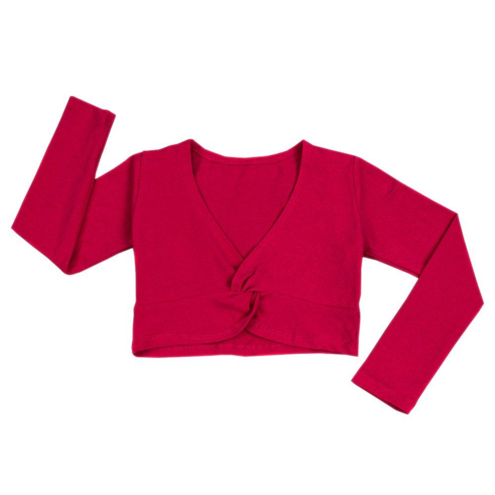 XFentech childrens Girls Ballet wrap-around jacket sweater cotton dancewear