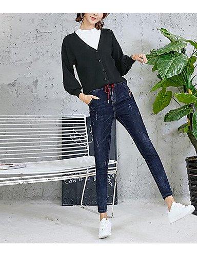 TT&NIUZAIKU Damen Freizeit Mittlere Hüfthöhe Mikro-elastisch Jeans Hose, Baumwolle Winter Frühling/Herbst Solide, Blau, 27