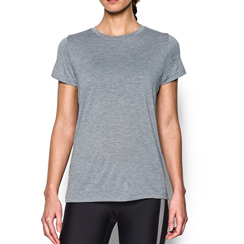 Under Armour Women's Tech Twist T-Shirt, Steel/Metallic Silver, Small