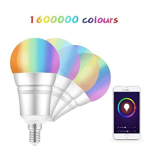 Weiqiao® WiFi Smart Bombilla 9 W E14 RGB Multicolor Ahorro de ...